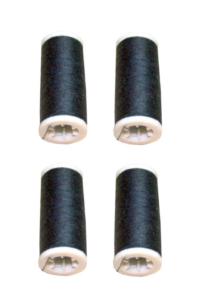 Nähmaschinen Nähgarn 400m 4 x 100m Polyester 40/2 schwarz (1001)