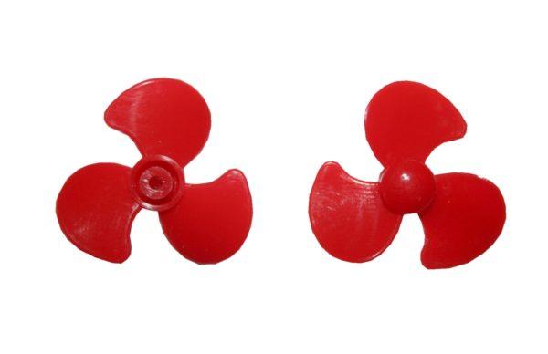 Propeller 3 Blatt 30mm 2mm Loch Kunststoff rot (0070)