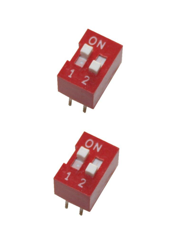 DIP-Schalter Wahlschalter Schalter 4pin 2xON-OFF 2 Stück (0005)