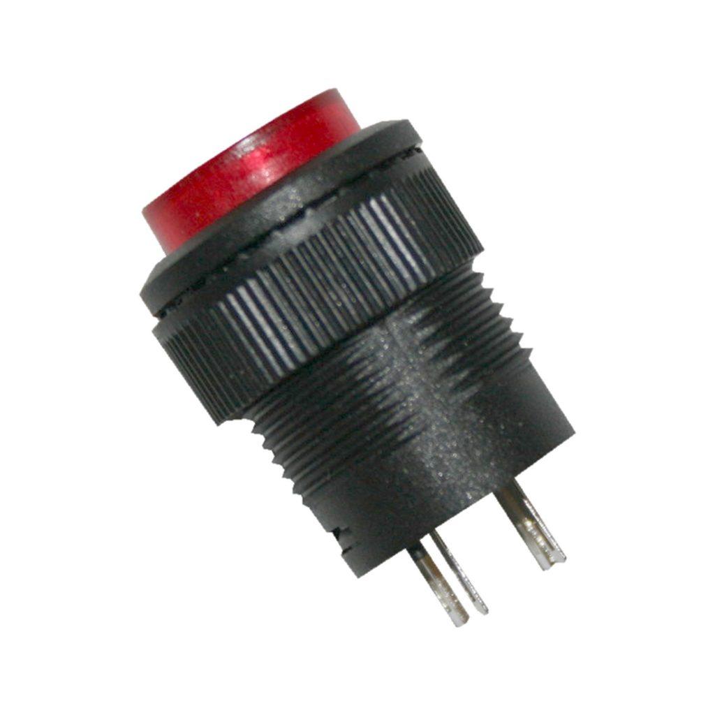 Drucktaster Taster rund mit Beleuchtung 2polig rot 1xON-OFF (0030)