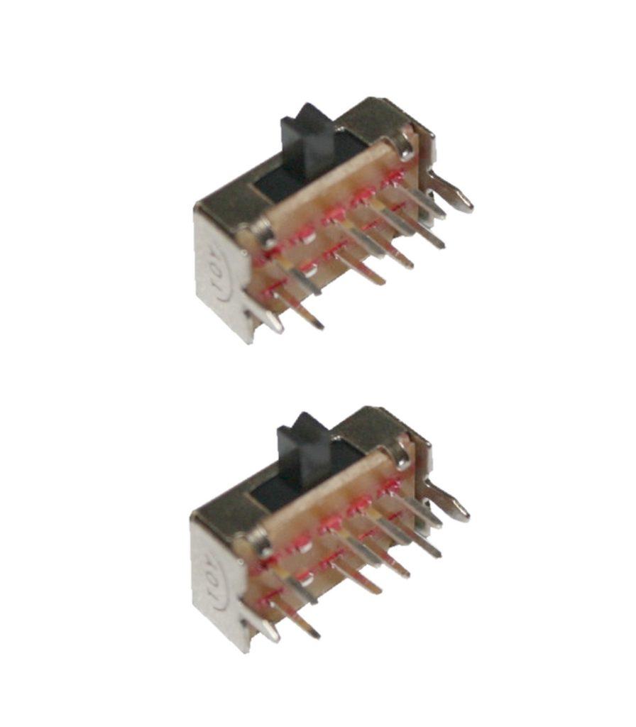 Mini Schiebeschalter Schalter SK23D07 8pin ON-ON-ON rechtwinklig 2 Stück (0043)