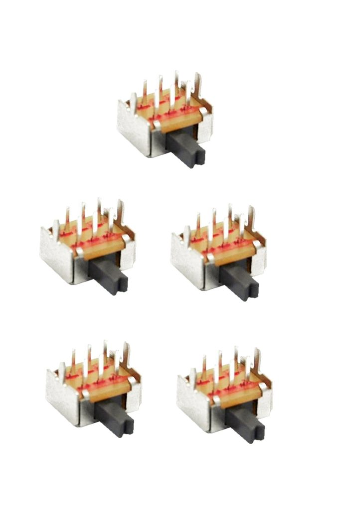 Mini Schiebeschalter Schalter SK22D07 6pin 2xON-ON rechtwinklig 5 Stück (0045)