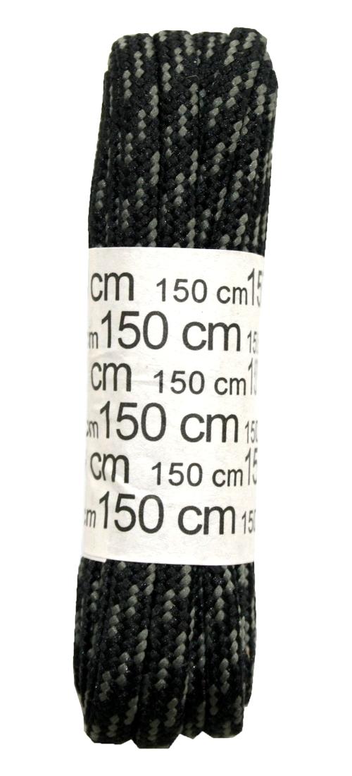 Schuhband Schnürsenkel 1 Paar Polyester 150 cm rund schwarz / grün (0042)