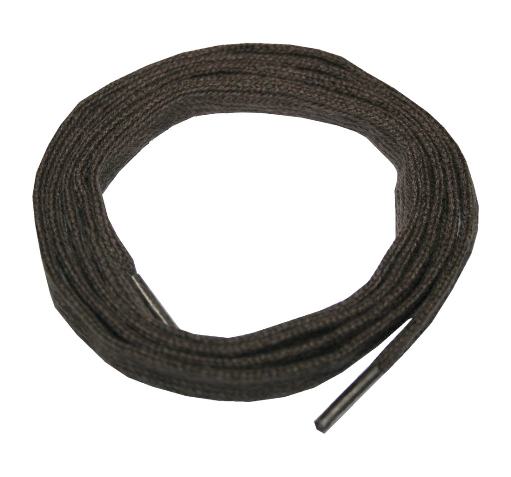 Schuhband Schnürsenkel 1 Paar Baumwolle 120cm 10mm flach braun (10021)