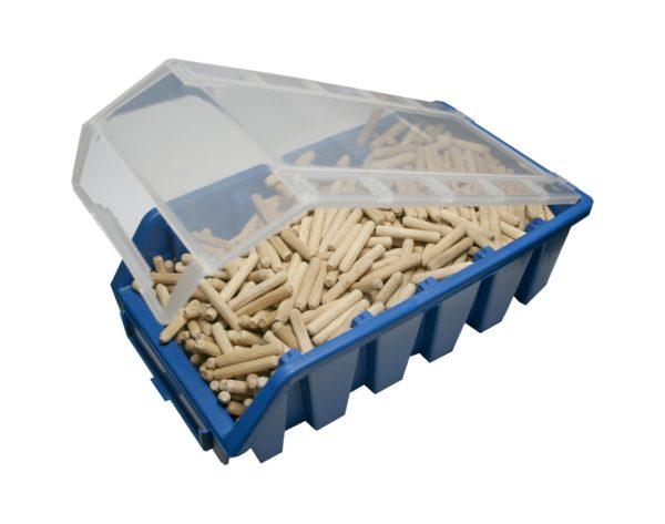 Holzdübel Riffeldübel FSC® 5x30mm 350g in einer Stabelbox mit Deckel (0040)