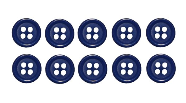 Knopf Knöpfe 10mm 4 loch blau 10 Stück (0071)