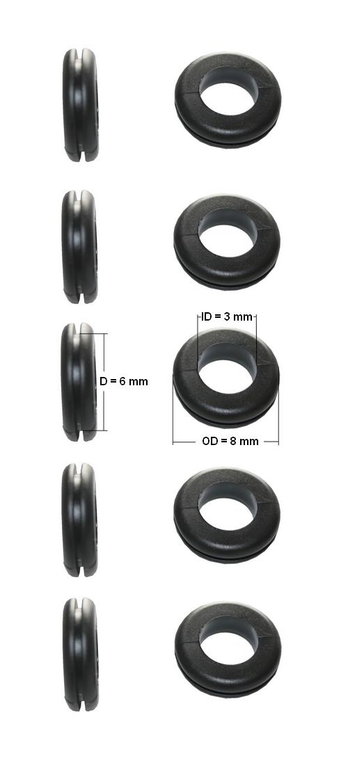 Durchgangstüllen Kabeldurchführung Kabeldurchlass 3mm schwarz 10 Stück (0152)