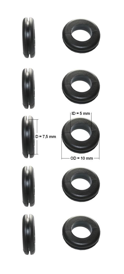 Durchgangstüllen Kabeldurchführung Kabeldurchlass 5mm schwarz 10 Stück (0153)