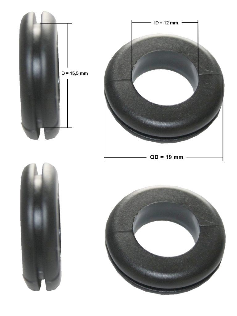 Durchgangstüllen Kabeldurchführung Kabeldurchlass 12mm schwarz 4 Stück (0157)