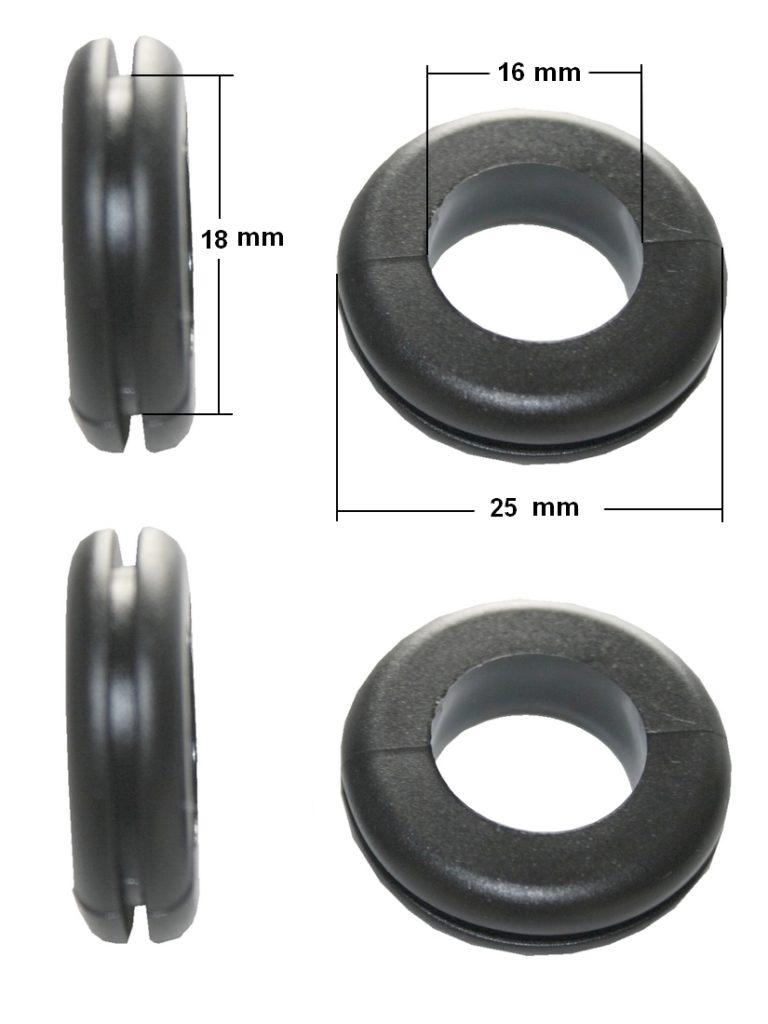 Durchgangstüllen Kabeldurchführung Kabeldurchlass 16mm schwarz 4 Stück (0159)