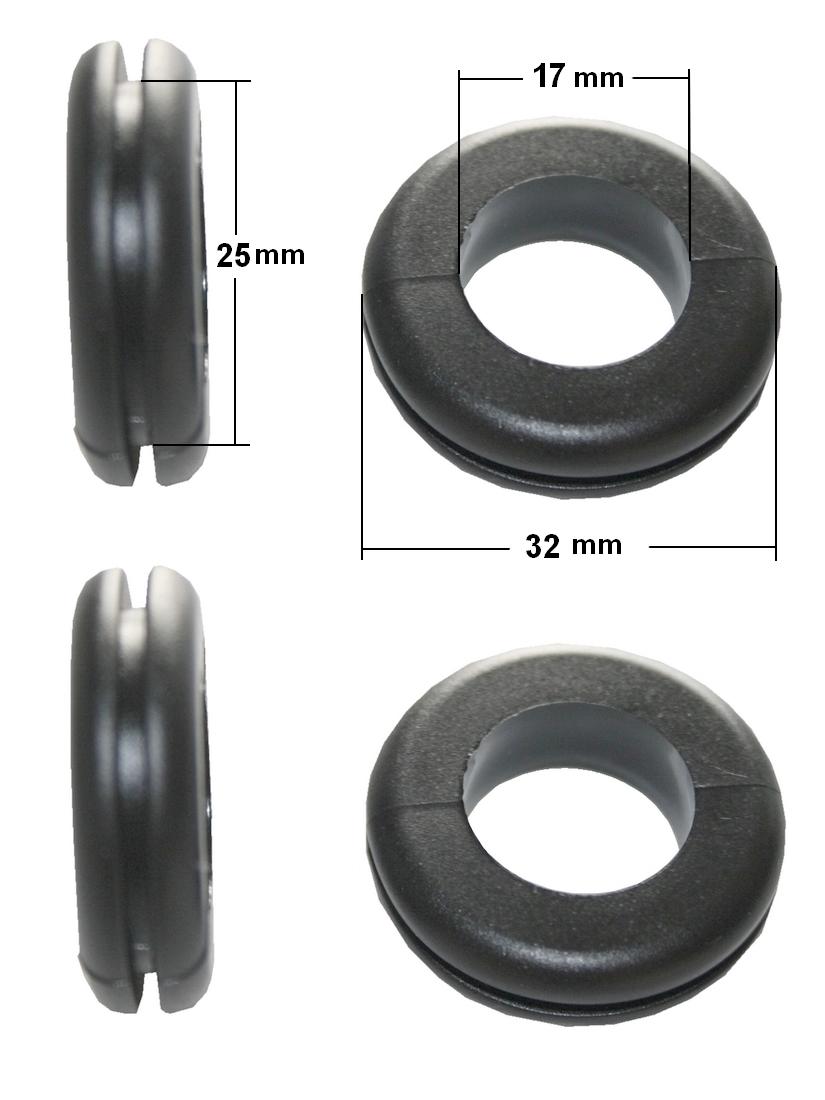 Durchgangstüllen Kabeldurchführung Kabeldurchlass 17mm schwarz 4 Stück (0225)