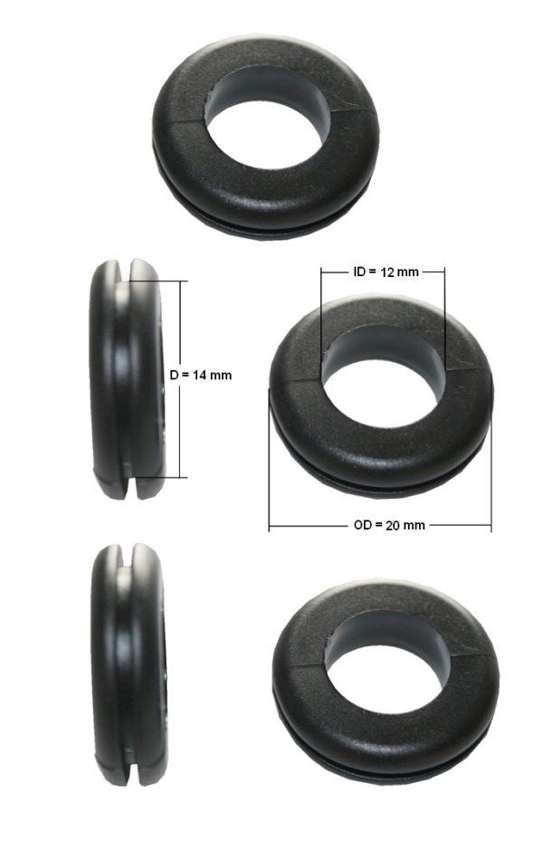 Durchgangstüllen Kabeldurchführung Kabeldurchlass 12mm schwarz 5 Stück (0298)