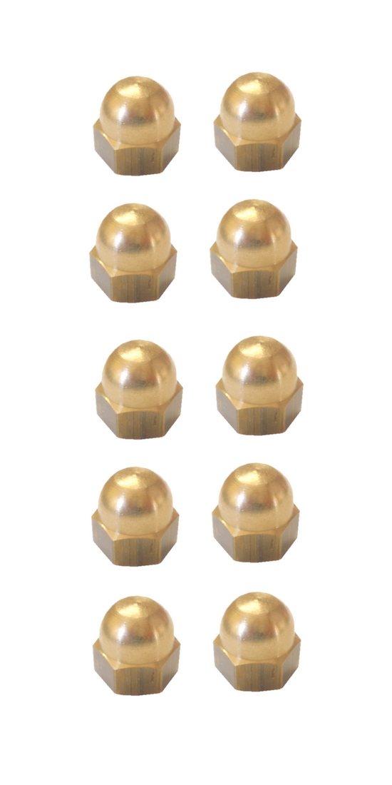 Hutmuttern Hutmutter Sechskant Messing M5 DIN1587 10 Stück (0131)