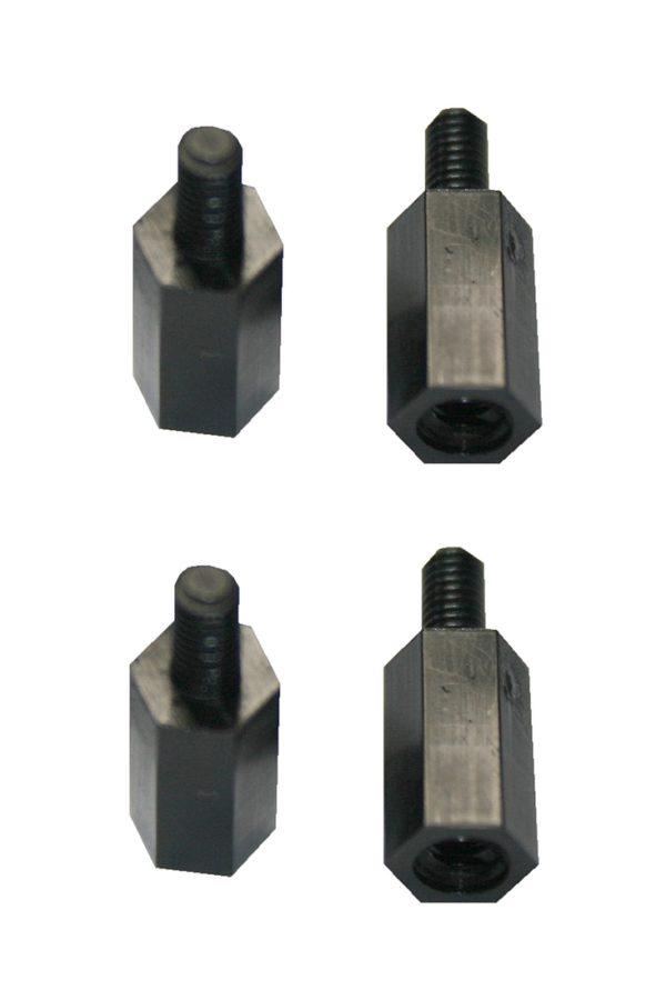 Distanzbolzen Abstandshalter M3 6mm Polyamid 4 Stück schwarz (0120)