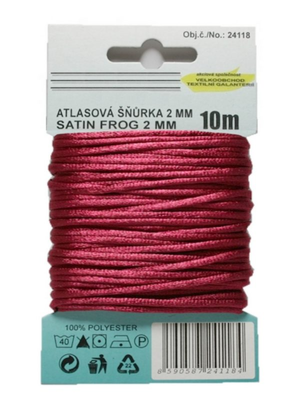 Satinkordel Satinschnur Kordel Satinfaden 10 m 2 mm weinrot (0036)
