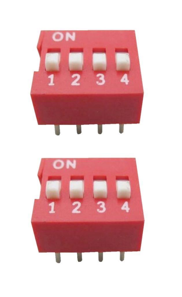DIP-Schalter Wahlschalter Schalter 8pin 4xON-OFF 2 Stück (0054)